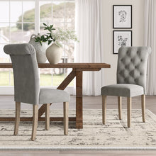 Load image into Gallery viewer, gray-Bushey Roll Top Tufted Upholstered Side Chair (Set of 2)  #5169