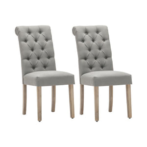 gray-Bushey Roll Top Tufted Upholstered Side Chair (Set of 2)  #5169
