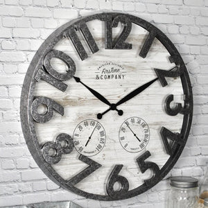 "Gray/White Camille Shiplap 18"" Wall Clock  #4079"