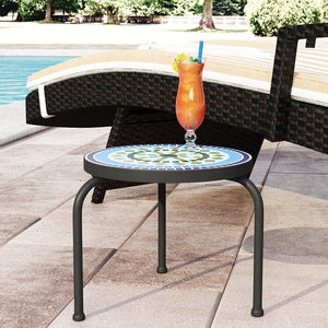 Black Sebago Stone/Concrete Side Table #3005