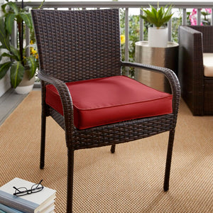 Red Corded Outdoor Sunbrella Dining Chair Cushion SET OF 3, 2313