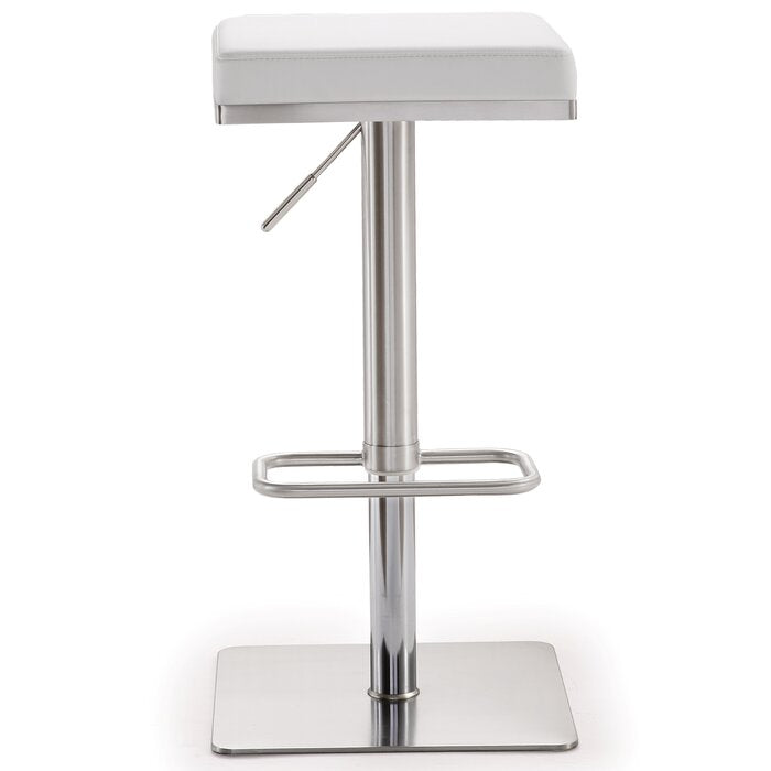 Critchfield Adjustable Height Swivel Bar Stool in White  #4175