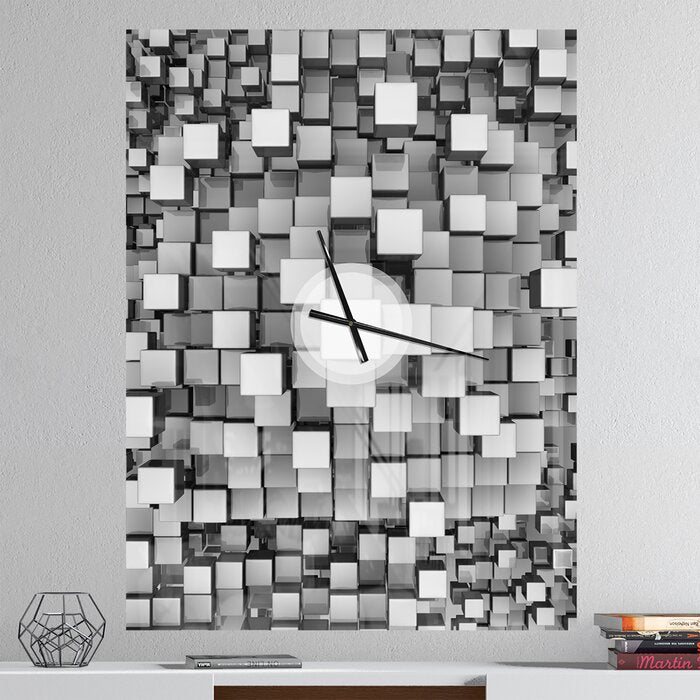 Small Silver Cubes 30 x 44 Wall Clock  #4069