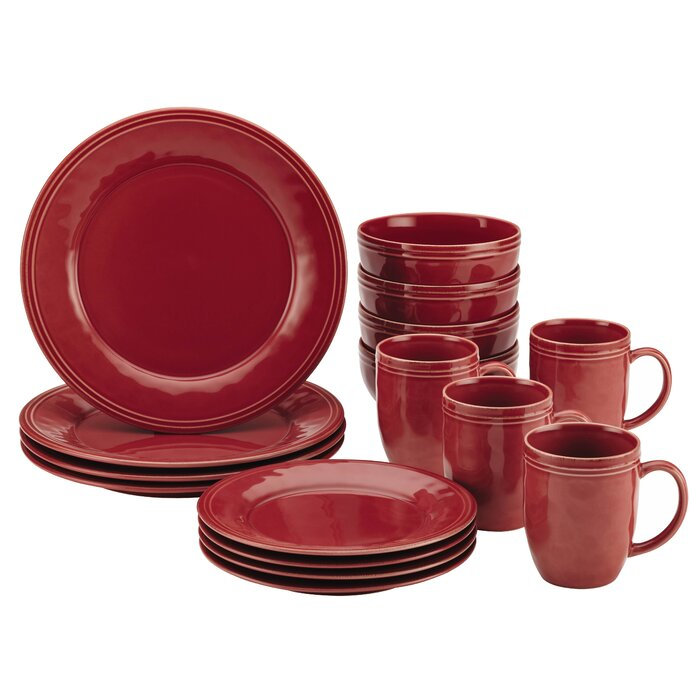 Cucina 16 Piece Dinnerware Set, Service for 4 in Cranberry Red   #4278