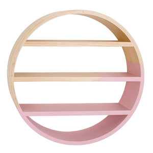 Natural/Pink Dreaming in Dax Round Wood Shelf  #5379