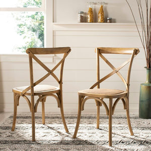 Elanore Cross Back Side Chair (Set of 2) in Natural   #4322