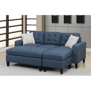 "Ellensburg 81"" Wide Reversible Sofa & Chaise with Ottoman, Navy EB2733"