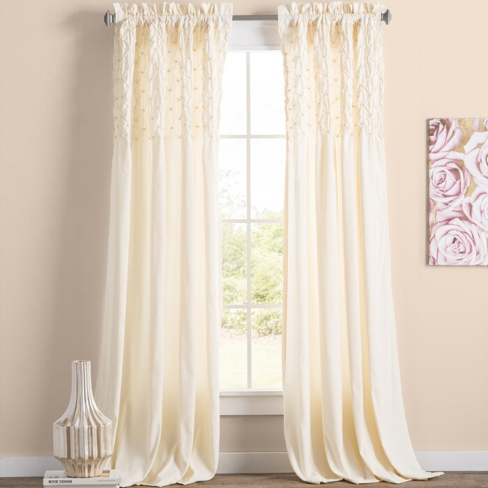 Elzira Solid Ivory Semi-Sheer Rod Pocket Curtain Panels (Set of 4) #6087