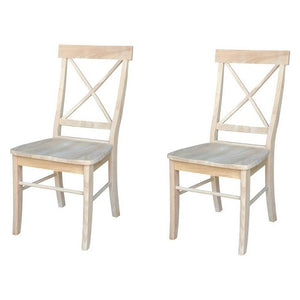 Set of 2 X Back Chairs with Solid Wood Seat Unfinished - International Concepts EB2725
