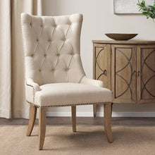 Load image into Gallery viewer, Garnica Tufted Upholstered Wingback Arm Chair in Cream     #ta2044