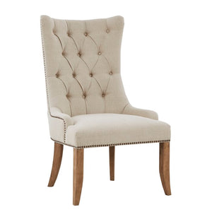 Garnica Tufted Upholstered Wingback Arm Chair in Cream     #ta2044
