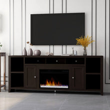 "Load image into Gallery viewer, Garretson Solid Wood TV Stand for TVs up to 88"" with Fireplace Included"