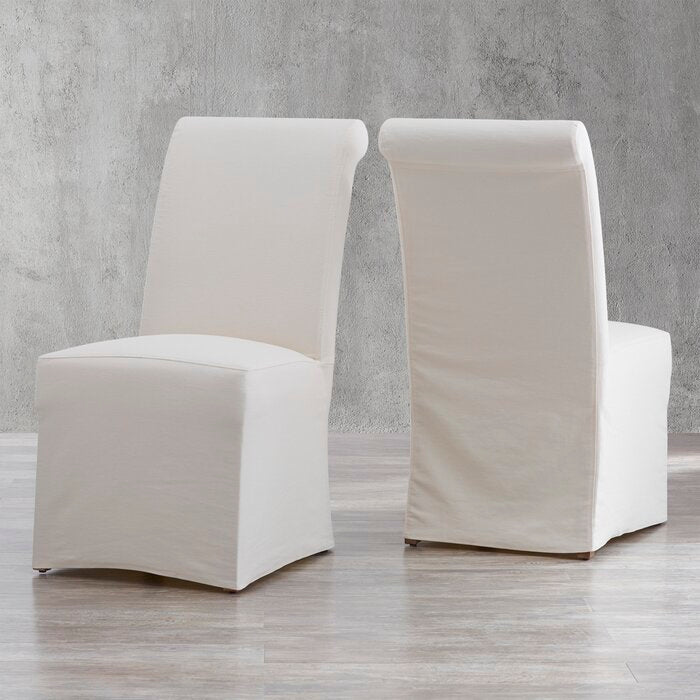 Geraldina Linen Upholstered Parsons Chair (Set of 2)  in Egg Shell/Ivory  #4215