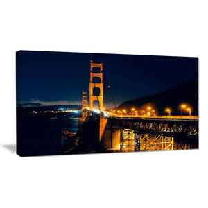 Golden Gate at Night Sea Bridge Photographic Print on Wrapped Canvas #6104