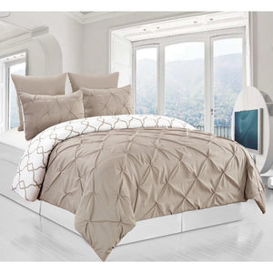 King Taupe Han 3 Piece Reversible Duvet Cover Set (taupe)  #5099