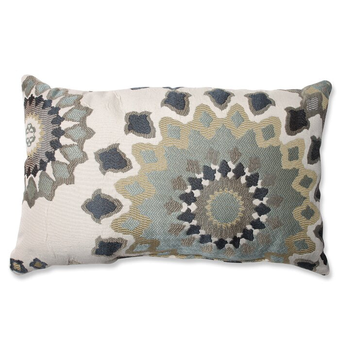Beige/Charcoal/Slate/Brown Hermanson Floral Lumbar Pillow  #5081
