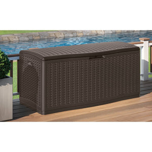 Java Herringbone Outdoor 124 Gallon Resin Deck Box in Brown  #4202