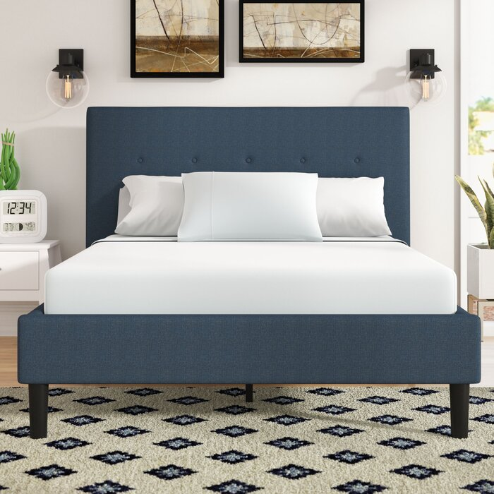(Full ) Jed Button Detailed Upholstered Platform Bed  #5418