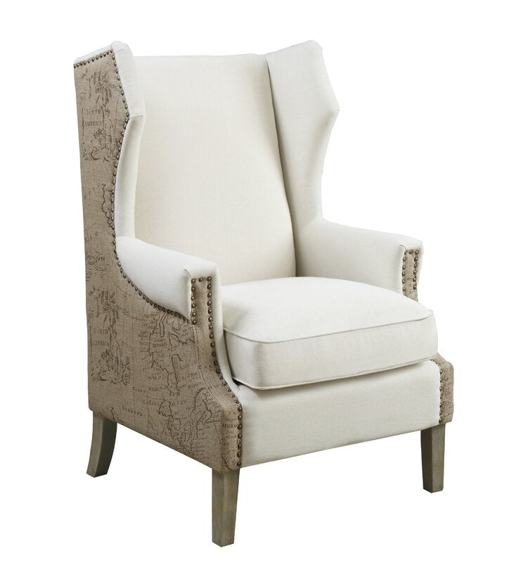 Kahler Wingback Chair in Beige with Print on Side  #4237