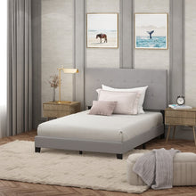 Load image into Gallery viewer, Full Glacier Kaniel Button Tufted Upholstered Platform Bed  (gray)  #5110
