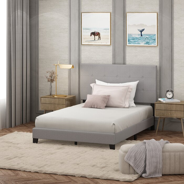 Full Glacier Kaniel Button Tufted Upholstered Platform Bed  (gray)  #5110