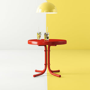 Bright Red Gloss Karim Steel Side Table  #4193