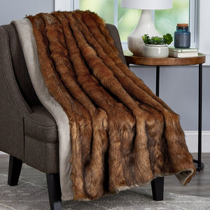 Throw Brown Leavens Chinchilla Faux Fur Blanket #6119