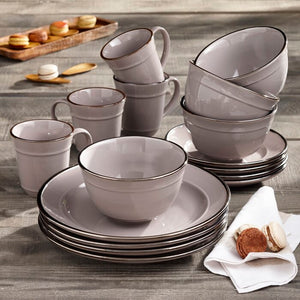 Gray Lucienne 16 Piece Dinnerware Set, Service for 4   #5059
