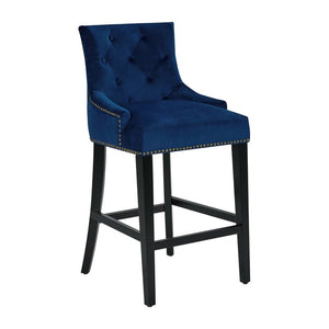 "SINGLE Navy Lundberg Button Tufted 27"" Bar Stool  #4118"
