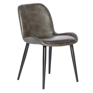 Malmesbury Leather Chair in Dark Gray (Set of 2)  #5401