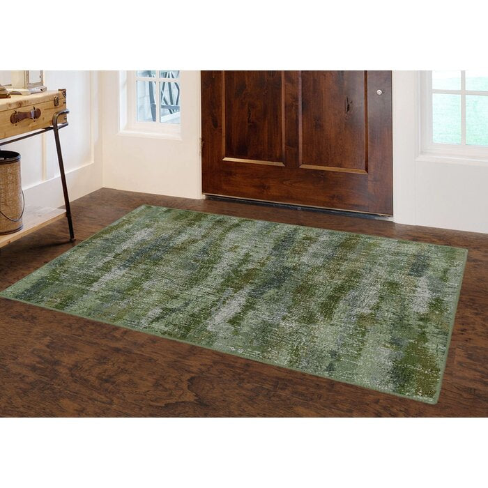 Medfield Greenery, Vintage Abstract Green Area Rug  (30