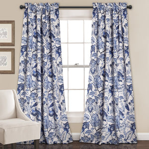 MoretinMarsh Floral Semi-Sheer Thermal Rod Pocket Curtain Panels (Set of 2) #5139