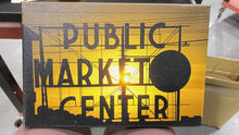 Load image into Gallery viewer, Black;White;Orange;Corn;Earls Green 'Public Market Center Neon Sign and Clock Silhouette in Front Of a Rising Sun, Pike Place Market, Seattle, Washington, USA' Graphic Art Print on Canvas mp3607