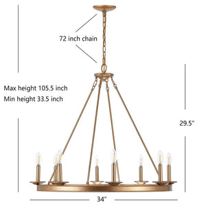 Natal 8 - Light Candle Style Wagon Wheel Chandelier 2325