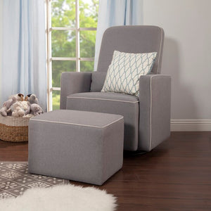 Olive Swivel Glider and Ottoman Grey w/cream piping #6240