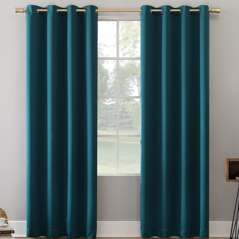 Oslo Home Theater Grade Solid Blackout Thermal Grommet Single Curtain Panel mp3627