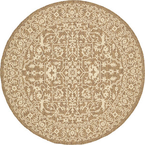 6' x 6' Outdoor Botanical Round Beige/Brown Rug (COMPARABLE)#4055