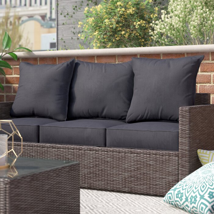 Black Pellot Indoor/ Indoor/Outdoor Loveseat Cushions ONLY   #4466
