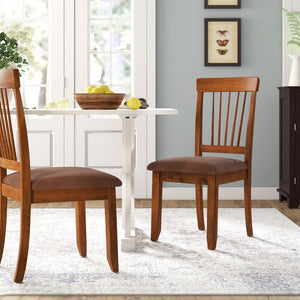 Pevensey Upholstered Slat Back Side Chair in Rustic Brown (Set of 2) #6231
