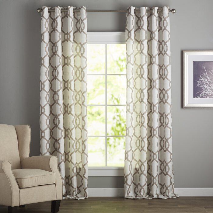 Plant City Geometric Semi-Sheer Grommet Panel Pair (Set of 2) in Natural  #4160