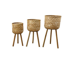 Load image into Gallery viewer, Beige Round Bamboo Floor 3 Piece Wicker Basket Set  #5074