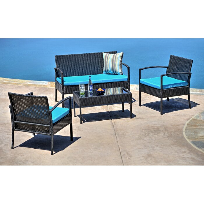 Roxana 4 Piece Rattan Sofa Seating Group with Cushions #6273