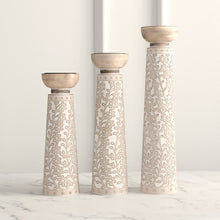 Load image into Gallery viewer, Cylindrical Flourish-Designed 3 Piece Wood Candlestick Set #6264