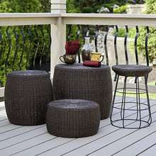 Load image into Gallery viewer, Brown Shela Wicker Outdoor Ottoman  #5214
