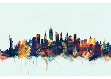 Load image into Gallery viewer, Skyline Series: New York City, New York, USA II Graphic Art in Blue #6149