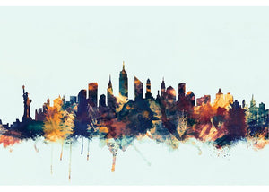 Skyline Series: New York City, New York, USA II Graphic Art in Blue #6149