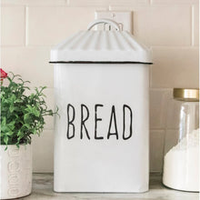 Load image into Gallery viewer, White Stratton Enameled Bread Box with Lid   #5035
