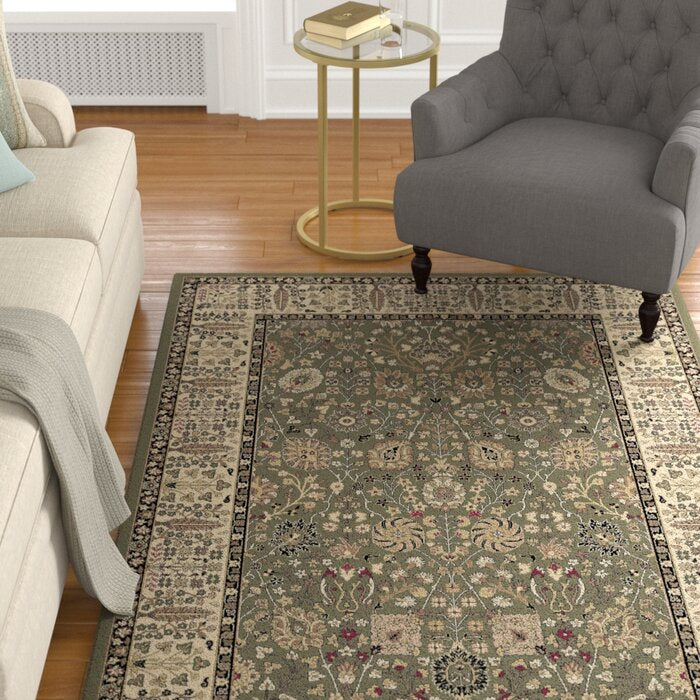 Izaiah Oriental Olive/Beige/Tan Area Rug Rectangle 6'7