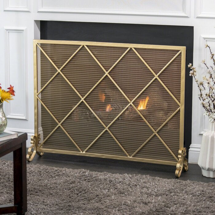 Tepper Single Panel Iron Fireplace Screen  #5167