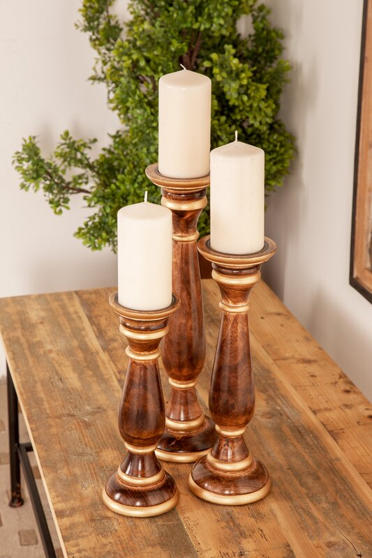 Traditional Baluster 3 Piece Wood Candlestick Set  #5338